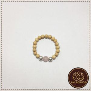 Vòng dâu tằm đá thạch anh hồng bi bạc cho bé gái 06